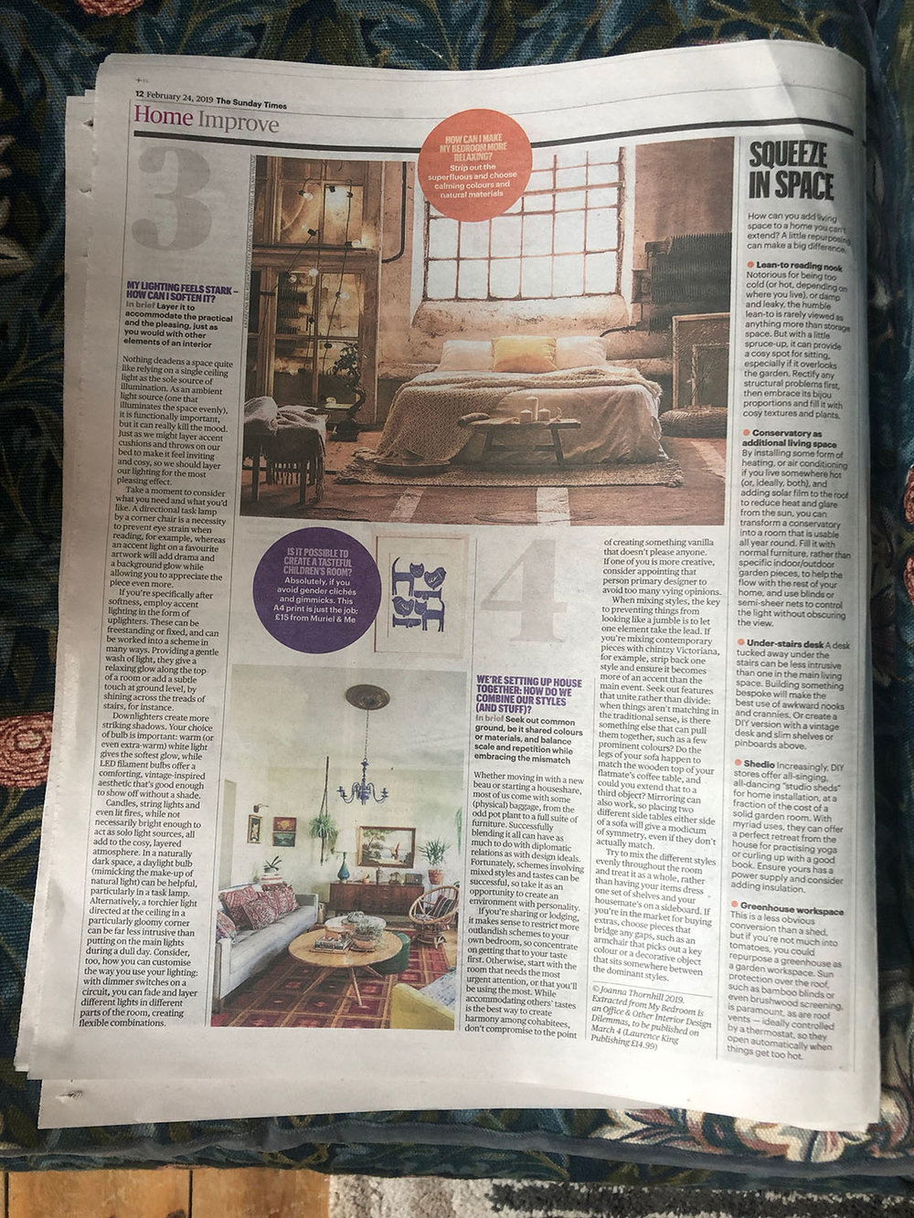 Sunday Times Home featuring My Bedroom Is an Office by Joanna Thornhill 24th Feb 2019 - P3 closer.jpg