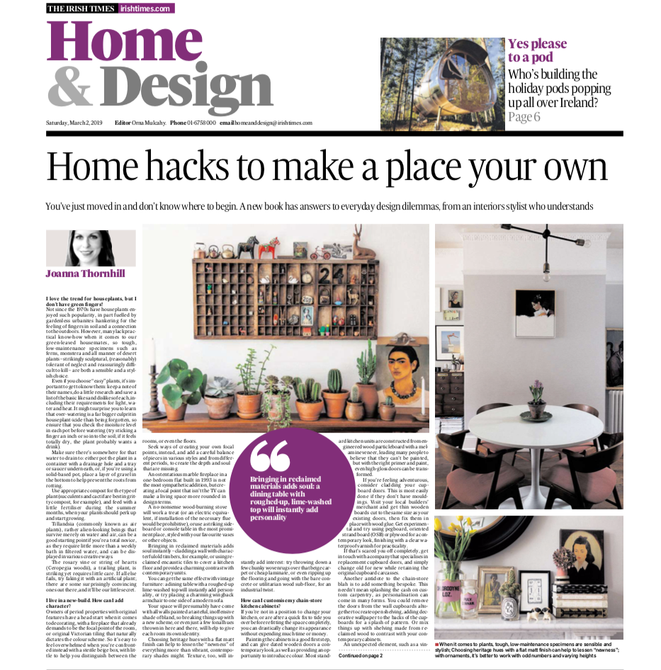 Irish Times Six Home Hacks feature on My Bedroom is an Office by Joanna Thornhill P1 condensed.png