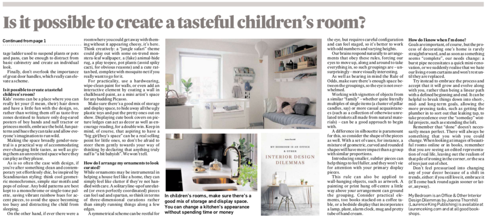 Irish Times Six Home Hacks feature on My Bedroom is an Office by Joanna Thornhill P2 condensed.png