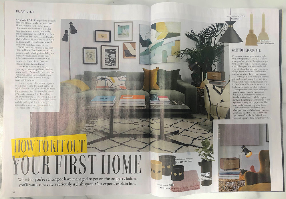 Grazia Kit Out your First Home feature with Joanna Thornhill of My Bedroom is an Office 9th March19 Spread One.jpg