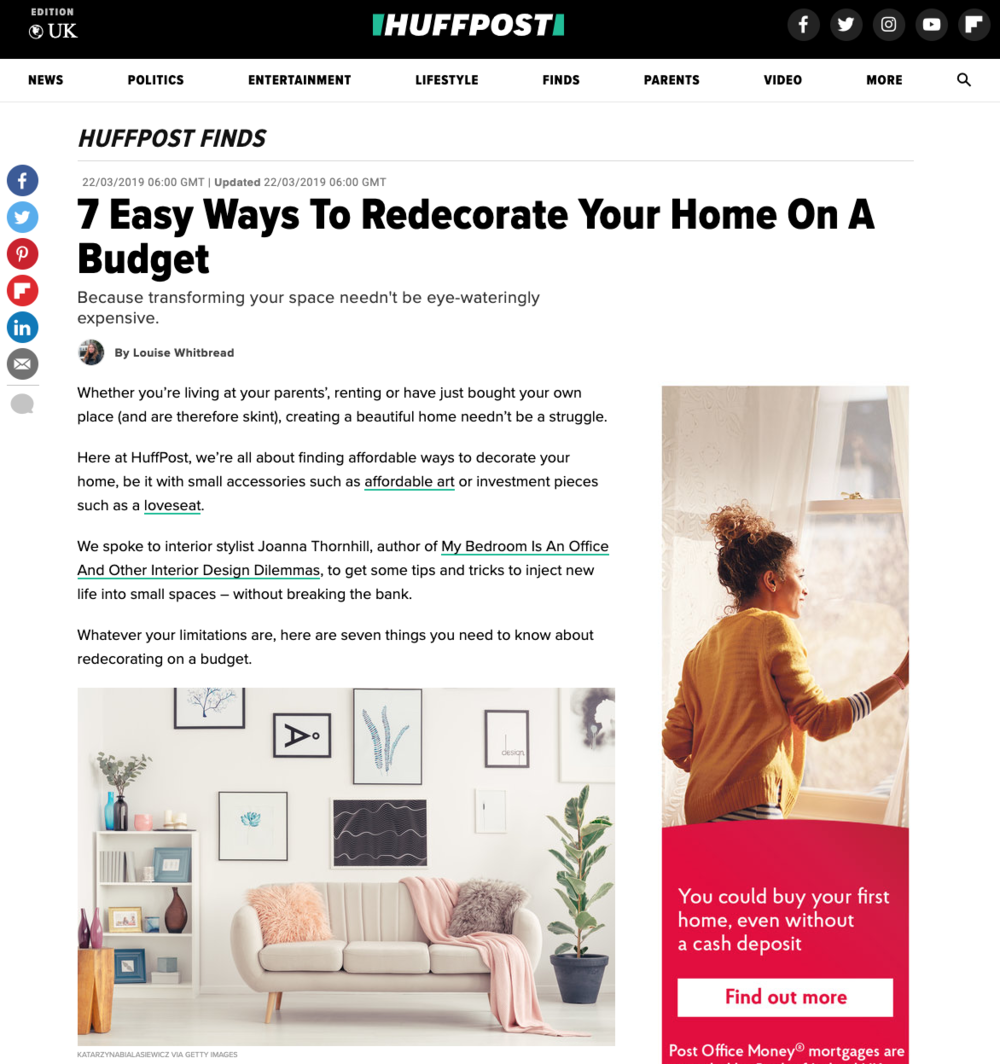 Huffington Post featuring My Bedroom is an Office by Joanna Thornhill - Easy Ways to Decorate on a Budget P1.png