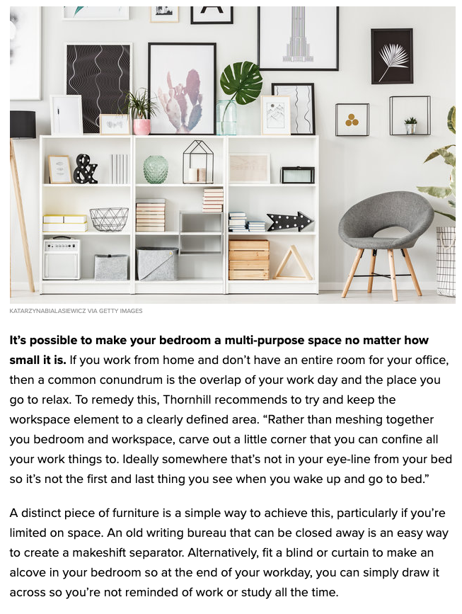 Huffington Post featuring My Bedroom is an Office by Joanna Thornhill - Easy Ways to Decorate on a Budget P5.png