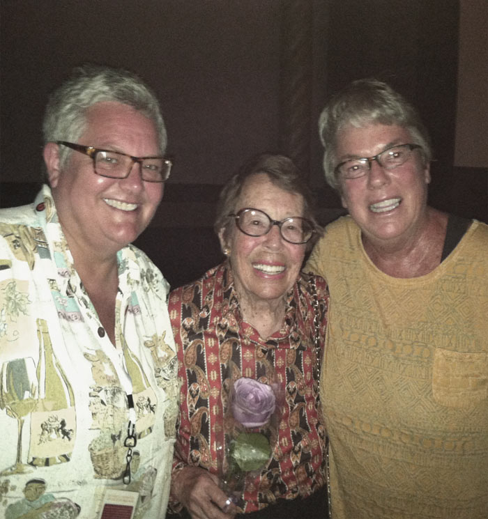 Karen Kiss, Phyllis Lyon and Paris Poirier at the 20th Anniversary screening of Last Call at Maud's in San Francisco, June 2013