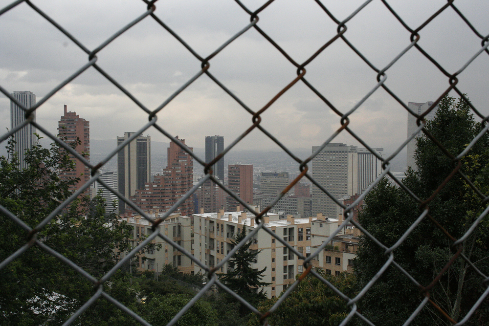 Bogotá as seen through a roadside fence along the Circunvalar- a winding, mountainside alternative to the main north-south artery, la Séptima