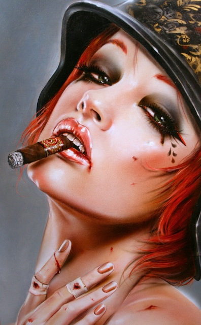 "Brian M. Viveros ""War Games"" Oil and acrylic on maple board 10.5 x 19 inches, framed SOLD"
