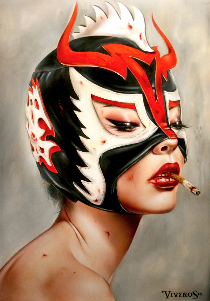 "Brian M. Viveros ""Lucha-Adore"" Oil and acrylic on maple board 16 x 22 inches, framed SOLD"