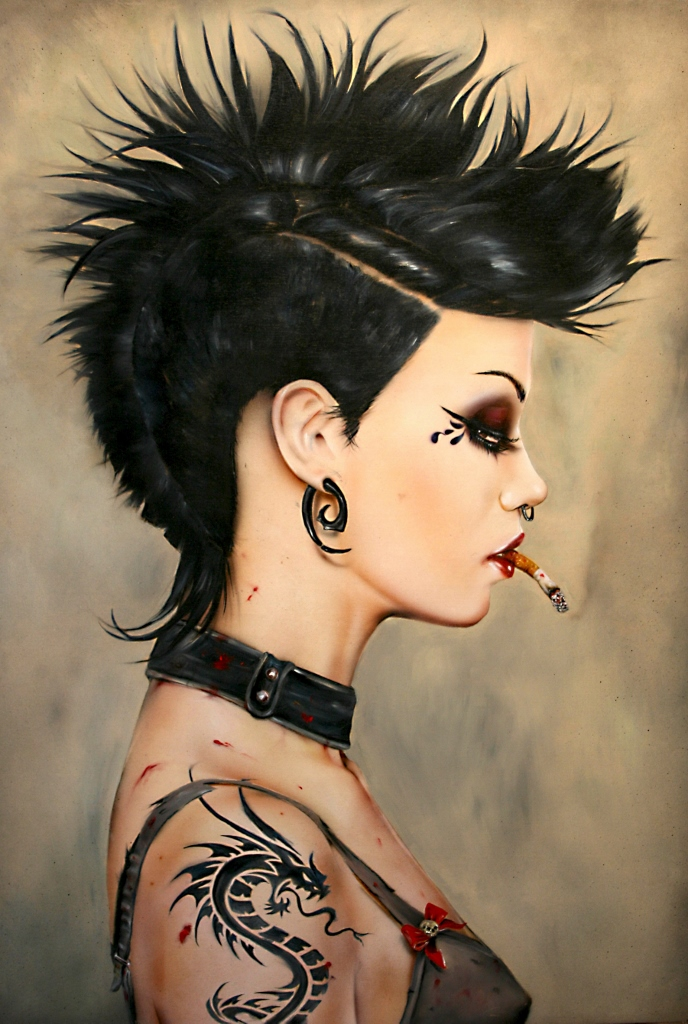 "Brian M. Viveros ""Vicious"" Oil and acrylic on maple board 22 x 28 inches, framed"