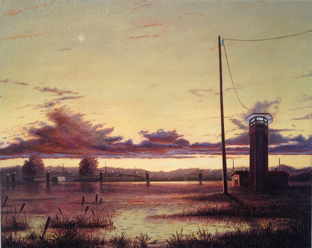 "Sandow Birk ""Louisiana State Penitentiary (Angola)- West Feliciana Parrish, LA."" Oil and acrylic on canvas 16 x 20 inches"