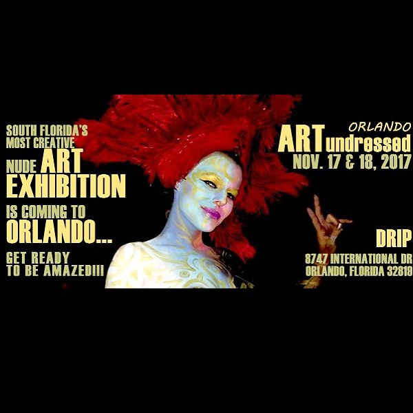 Tonight and tomorrow! Get body painted, nude art inspired gallery, performances throughout the night! Exhibit hours: 6pm-2am, entertainment off and on between 7pm-12am  Tickets at the door while supplies last.  8747 International Dr. Ste. 102, Orlando, FL 32819 #bodypainting #orlandoart #internationaldrive #orlando #ilovedrip #artundressed