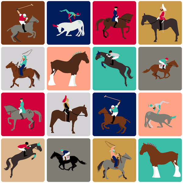 Harlequin Horses for Spoonflower. 2013.