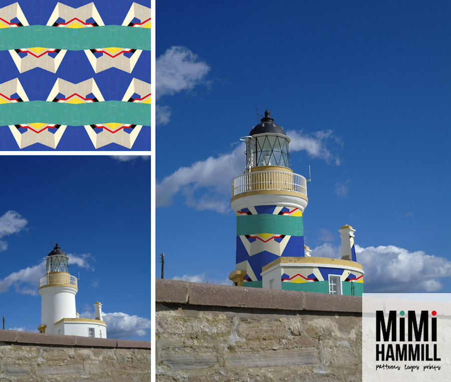 Patternbombing gives my ego a good excuse to wrap one of my scarves around a local landmark, so that's always good :-) Here's my Queenstown/Queensway pattern (also inspired by the old bowling alley in the picture above), patternbombing the Chanonry Point lighthouse, Black Isle, Scotland.