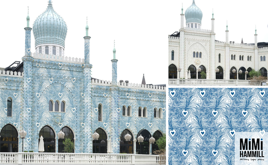 Inspired by the white peacocks that wander around Tivoli Gardens, and that lovely blue roof!