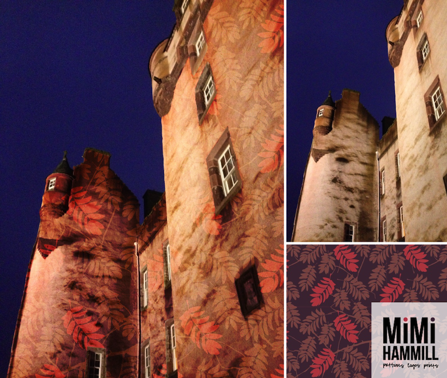 Here in Aberdeenshire we're lucky to be surrounded by fairytale castles. Many are pink and most are said to be haunted. So I thought this picture of Fyvie Castle, taken last Christmas, could use a rowan tree pattern bomb (to keep any witches at bay!).