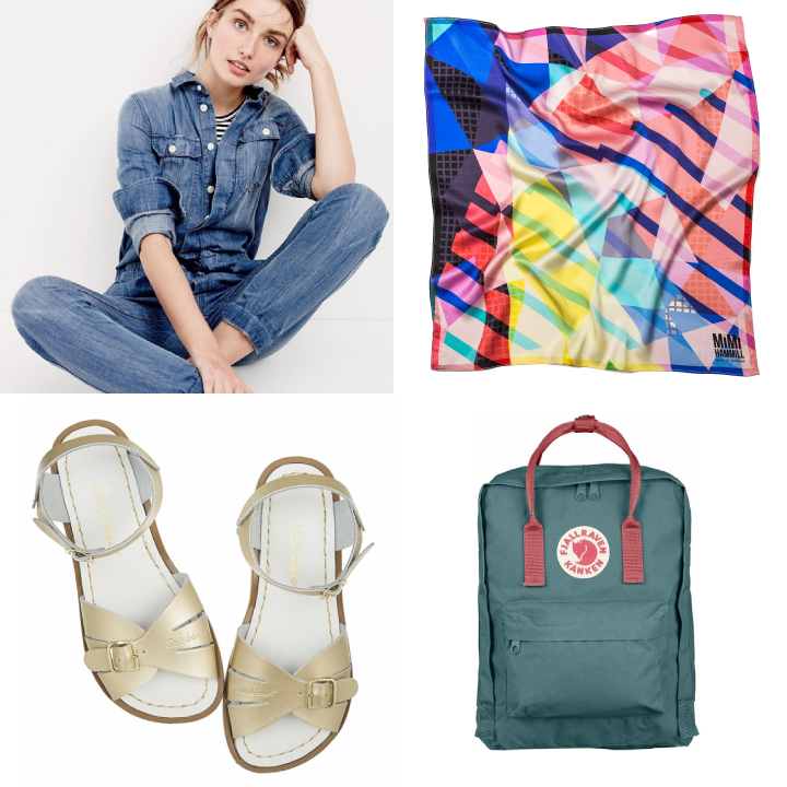 Clockwise from top left: JCrew, GLITCH by Mimi Hammill, Fjallraven, Saltwater Sandals