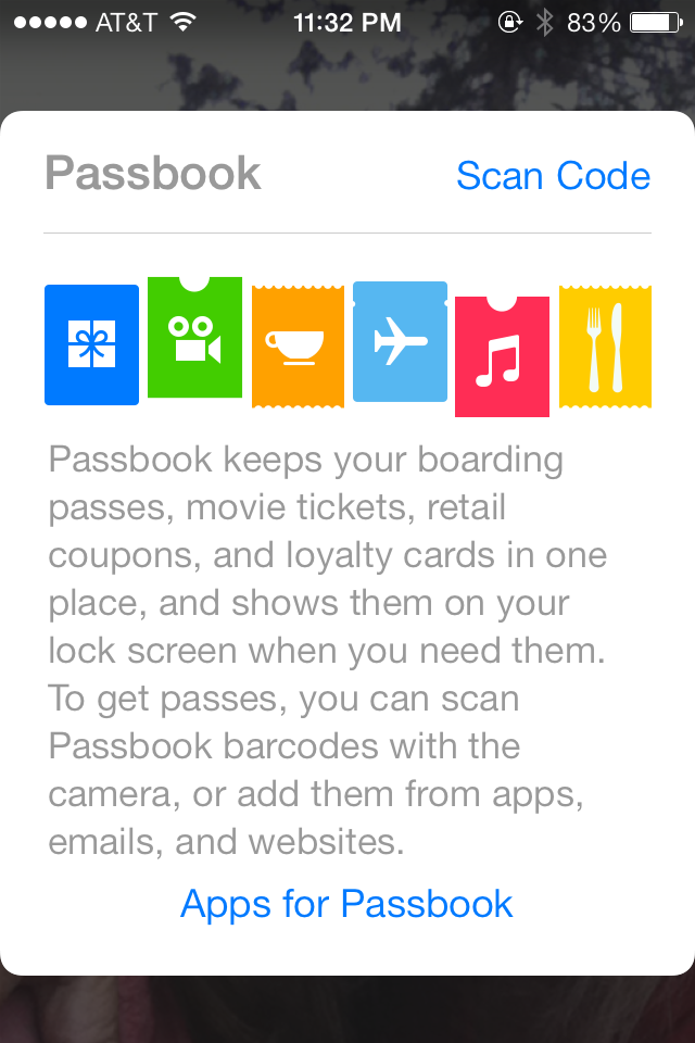Passbook app on Apple iOS 7 devices