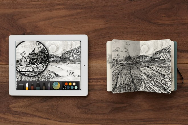 Book, a new collaboration by Moleskine and FiftyThree, lets you print a beautiful physical notebook with 15 of your own drawings, right from the Paper iPad app.    Photo: FiftyThree