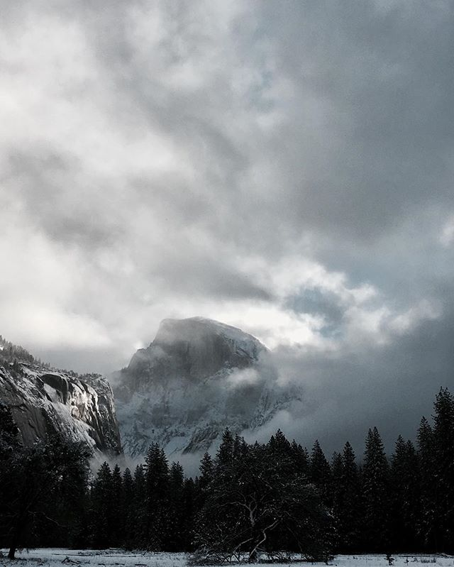 After a night of snow the clouds broke over Half Dome...speechless and in love.