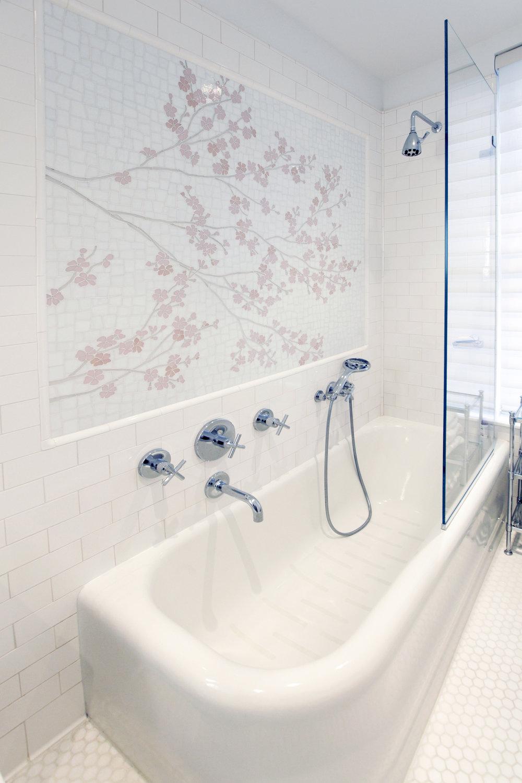 Guest Bath with inlaid tile mosaic from Cheryl Hazan Studio