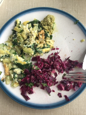Cleanse food from Day 2...eggs+zucchini+kale+onions and some cabbage slaw