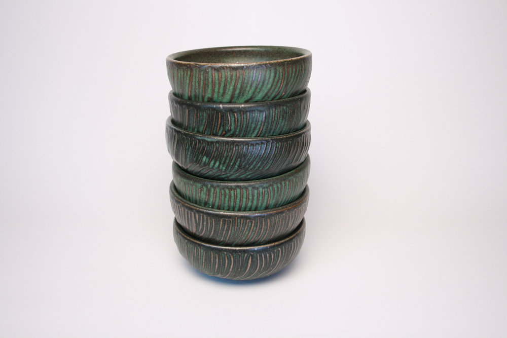 "FACETED BOWLS 3""H x 6""W"