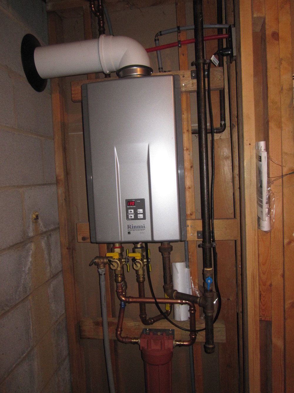 Our plumbers installed this Rinnai tankless water heater in a customer's home.