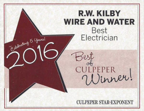 """Thank you, Culpeper! We were voted """"Best Electrician"""" in 2016."""