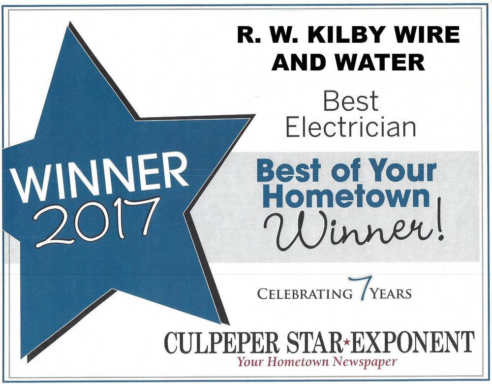 "We've been voted ""Best Electrician"" in Culpeper 2 years in a row. Thank you, friends!"