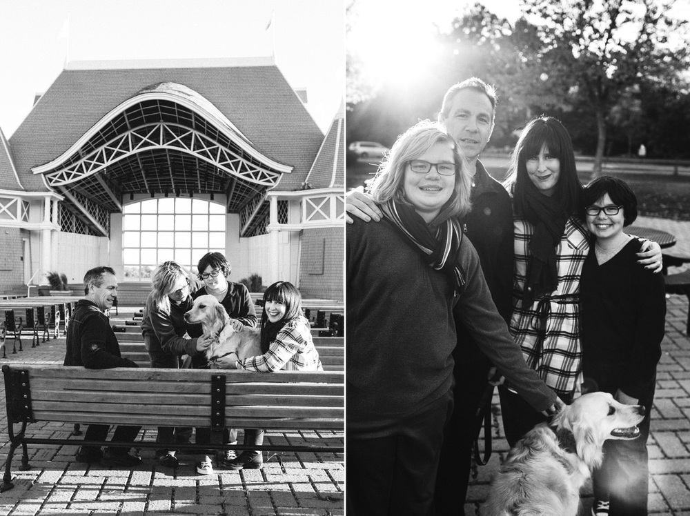 Family photos by the Lake Harriet bandshell in Minneapolis Minnesota