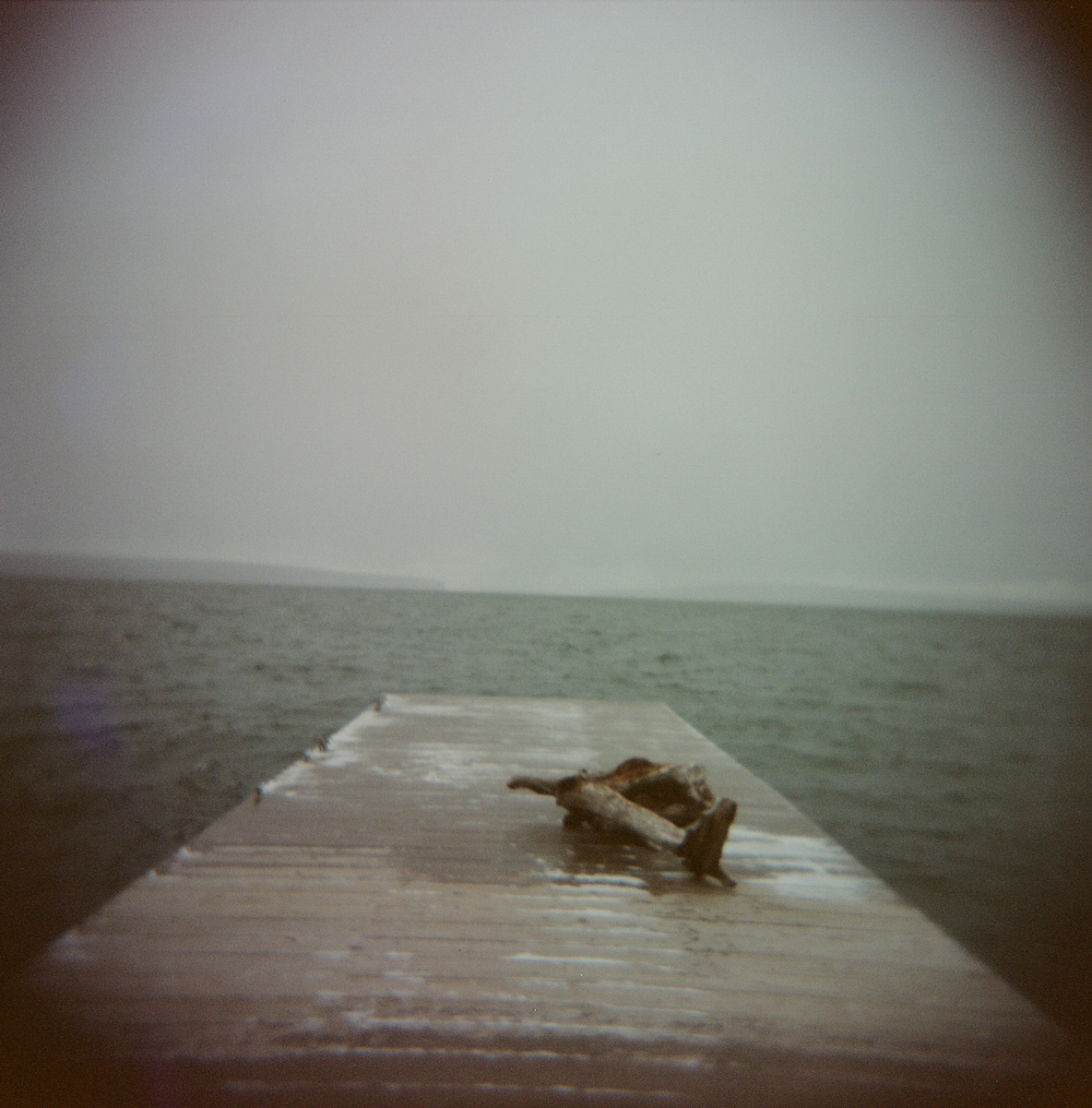 Frozen dock on Lake Superior taken with a Holga camera