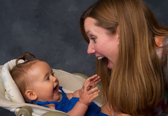 How a parent responds to an infant's babbling can speed up the child's language development. Photo Illustration by Tim Schoon.
