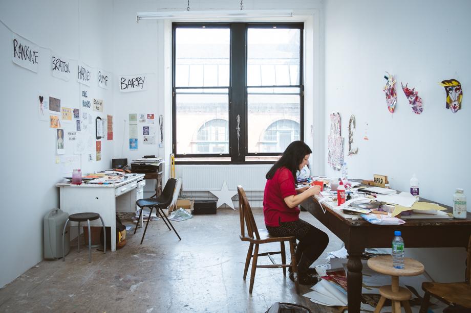 Janie working in her studio, South Block, WASPS.    Fuji X-Pro 1 & Fuji 18mm 2.0