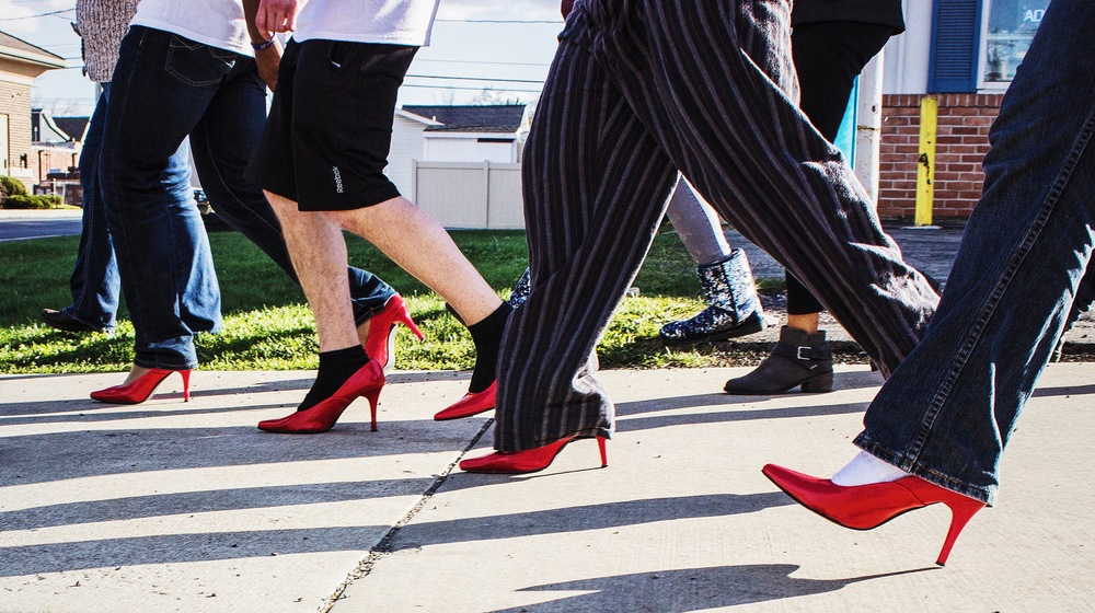 Walk a Mile in Her Shoes. Got down at street level and waited until the subjects came into frame.