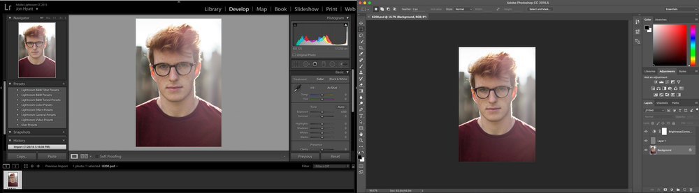 (Left) Lightroom and (Right) Photoshop interfaces