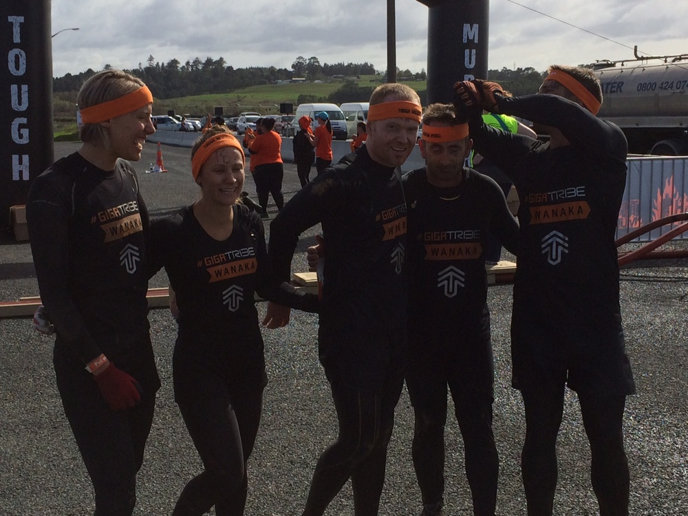 Tough Mudder - done! Me, Alice, Toby, Alister, Gordy.