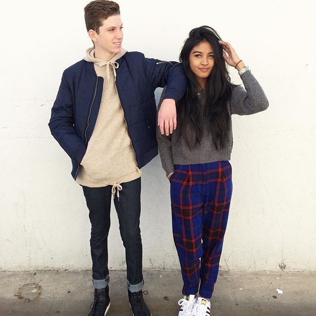 Jake & Gigi // him: WESC Rami Jacket + Deus Ex Machina Storm Hoodie + April 77 Joey Overdrive Sabbath Raw Denim + Thorocraft Porter Sneakers // her: Obey Bianca Crew Knit Sweater + Joyrich Private School Trousers #fallfashion #cozy #blackmarketla