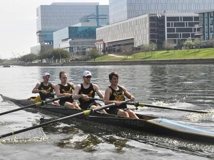 Mens Varsity 4 + at UCLA scrimmage in Tempe, AZ