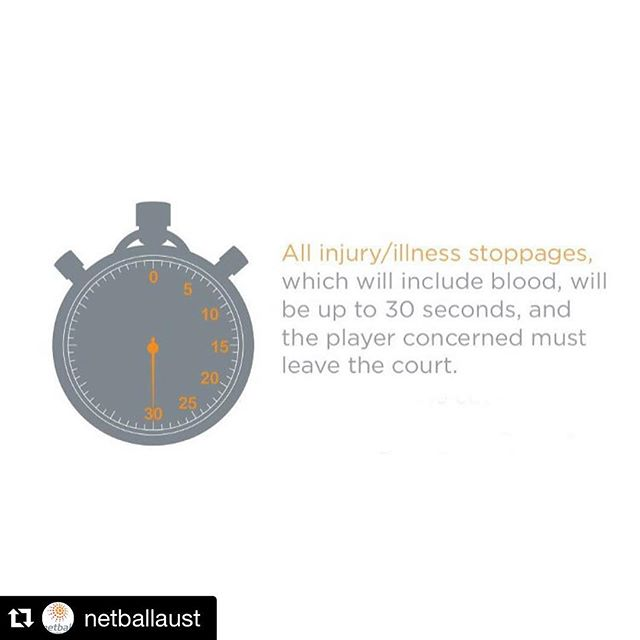 #Repost @netballaust with @repostapp. . . . KEY RULE CHANGE: All injury/illness/blood time is now the same and players have 30 seconds to leave the court. Umpires may be advised if a player cannot be removed safely within 30 seconds and stoppage time will be extended. The rule changes will be adopted by all associated competitions and events from 1 January 2016.