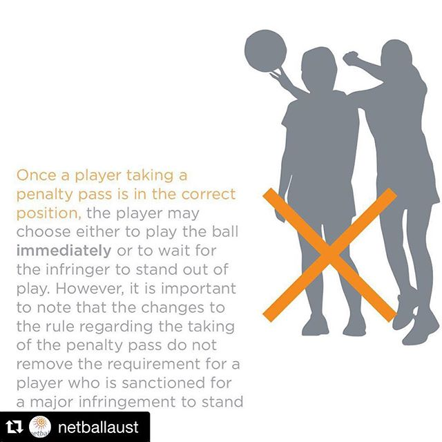 #Repost @netballaust with @repostapp. . . . KEY RULE CHANGE: When taking a penalty pass, the player may choose to either play the ball immediately or wait for the infringer to stand out of play. The rule changes will be adopted by all associated competitions and events from 1 January 2016.
