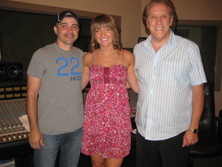 With my sound engineer, Frankie, on the left and my producer, Gene Higgins, on the right