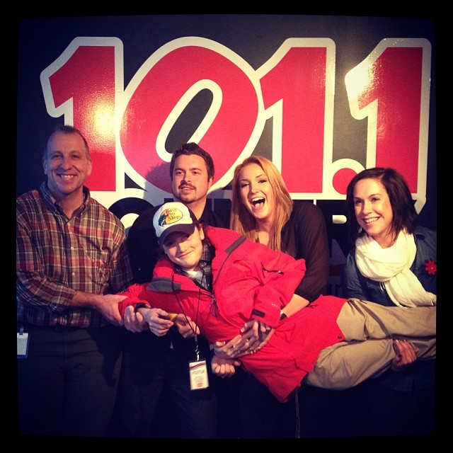 Country 101 studios with Joel (host), Chris Evans (guitar player), Mary Anne (host) and Dennis Gudbranson