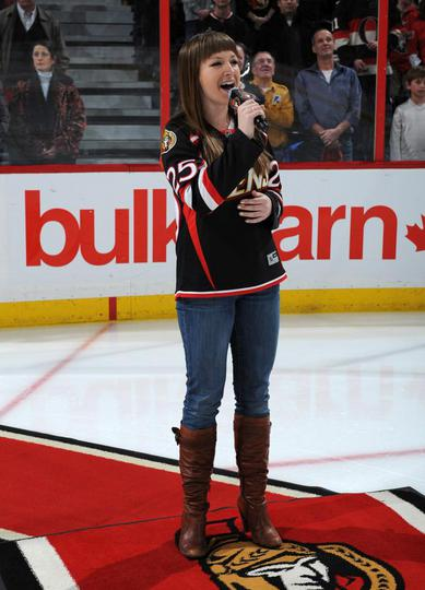 PHOTO 23 OF 28 - NEW JERSEY DEVILS VS. OTTAWA SENATORS Canadian Singer Angela Marie performed the nation anthems before the game between the Senators and Devils (Photo by Matt Zambonin/Freestyle Photography/OSHC) http://senators.nhl.com/club/gallery.htm?id=26529