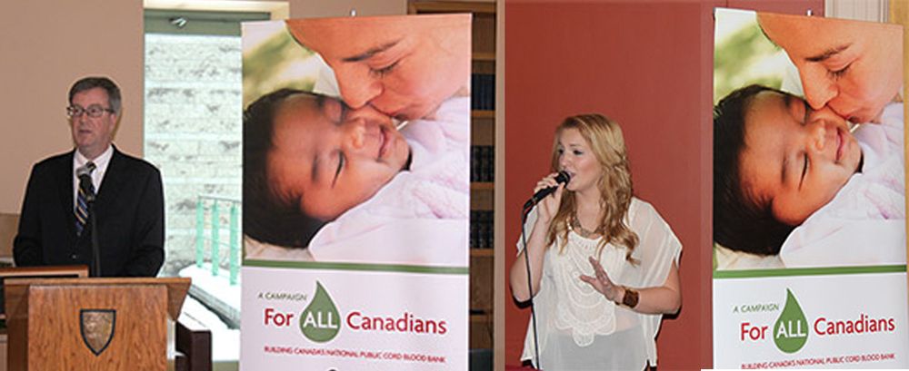 "Left: Mayor Jim Watson declares Dec 11 Cord Blood Awareness Day in Ottawa. Right: Singer-Songwriter Angela Marie performs ""Give Him Love"", a song she wrote for stem-cell recipient Dennis Gudbranson"