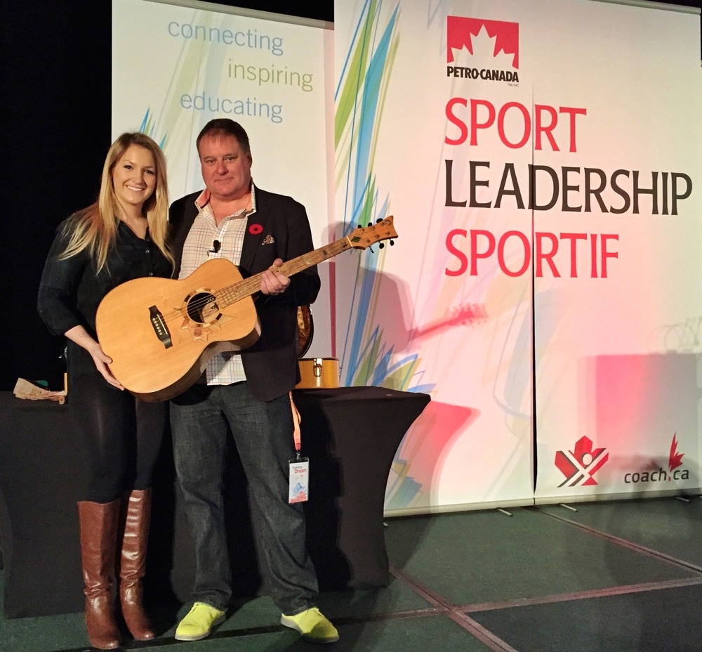 "November 8, 2014 - Angela Marie performs with the ""Voyageur"" at the Coaching Association of Canada's PetroCanada Sport Leadership Conference at the Westin in downtown Ottawa, ON.  A part of Six String Nation.  See blog post above."