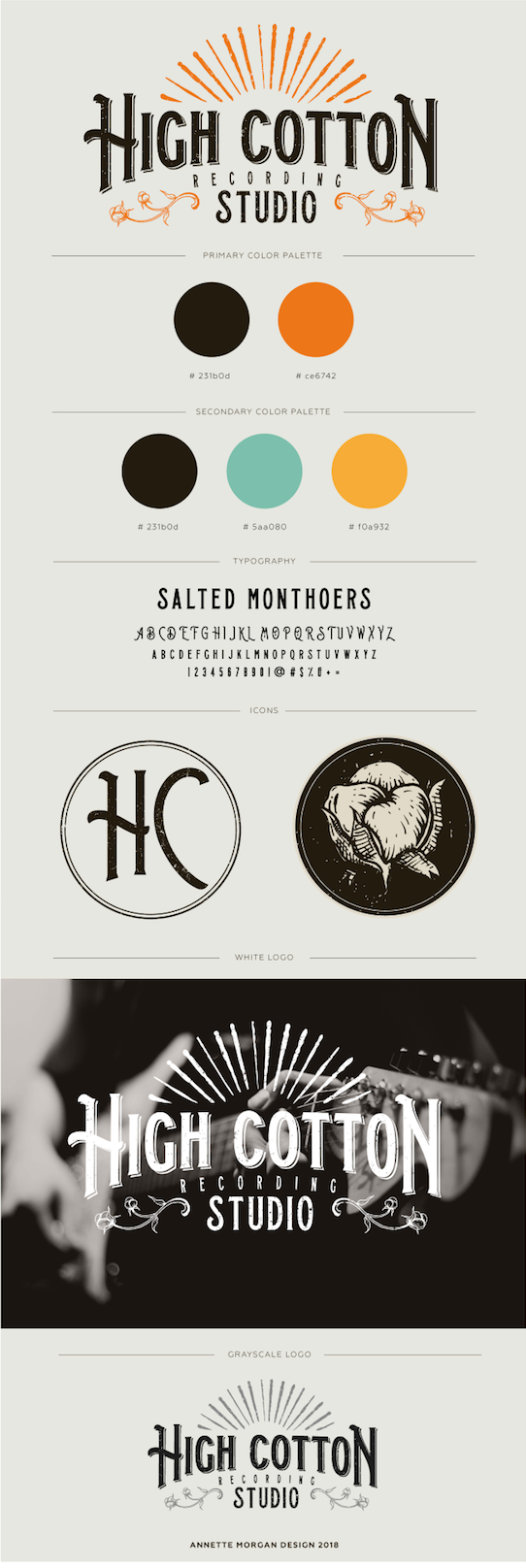 - Miniature style guide for client including hex codes, type face, icon options, and alternate logo usage.