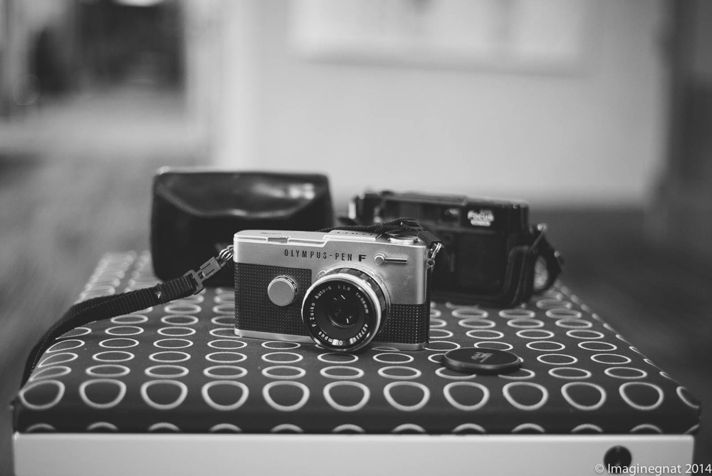 My new film cameras. The Olympus Pen F was sent to me by a friend and the old Yashica was left on the free table today!