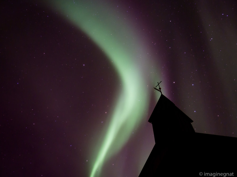 The Aurora Borealis over the picturesque Black Church in Budir, Iceland - OMD EM1 Mark ii with Panasonic 12mm f1.4