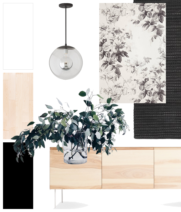 Pendant - Schoolhouse Electric & Supply Co. Credenza - BluDot. Wallpaper - Anthropologie. Runner - CB2. Plant - oh.sopretty.