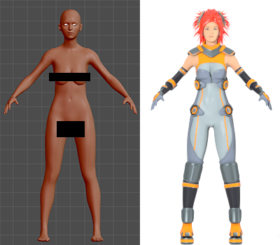 Maiko's base body in MakeHuman vs Maiko completed.