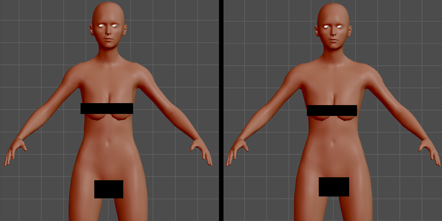 Maiko with narrowed shoulders (torso Vshape slider) vs Maiko with default shoulders. The difference is subtle, but enough subtle differences add up.