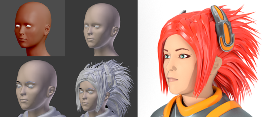 Maiko in MakeHuman, Blender Editor window with varying amounts of hair, and rendered.